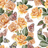 Beautiful Bright Colorful Watercolor Pattern With Rose Flowers a Stock Photography