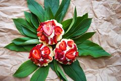 Beautiful and bright cupcakes with strawberries lie on green leaves, close-up royalty free stock photos