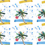Beautiful bright cute green tropical lovely wonderful hawaii floral herbal summer pattern of a beach sunset, palm tree, sea, red s Royalty Free Stock Images
