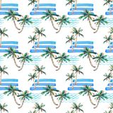 Beautiful bright cute green tropical lovely wonderful hawaii floral herbal summer pattern of a beach sunset, palm tree, sea, red s Stock Photography