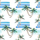 Beautiful bright cute green tropical lovely wonderful hawaii floral herbal summer pattern of a beach sunset, palm tree, sea, red s Royalty Free Stock Photo