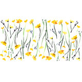 Beautiful bright cute lovely tender elegant gentle delicate bright floral spring yellow wildflowers with buds and leaves pattern. Watercolor hand illustration vector illustration
