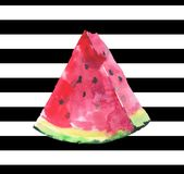 Beautiful bright delicious tasty chocolate dessert colorful yummy ripe juicy summer autumn slice of watermelon on black lines back. Ground watercolor hand sketch Stock Photo
