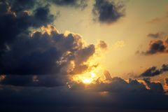 Beautiful bright dramatic sunset sky, wallpaper, natural background and texture royalty free stock photo