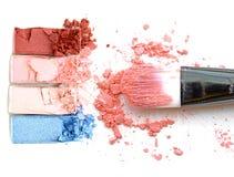 Beautiful bright eye shadows and blush. Beautiful bright eye shadows and blush Royalty Free Stock Image