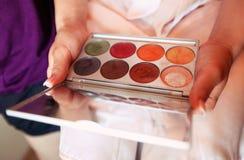 Beautiful bright eye shadows makeup tool powder colours Royalty Free Stock Image
