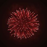Beautiful bright firework  on black background. Beautiful red firework. Bright firework  on black background. Light red decoration firework for Christmas, New Stock Photography