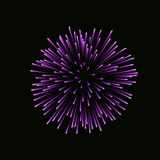 Beautiful bright firework isolated on black background. Beautiful pink firework. Bright firework isolated on black background. Light purple decoration firework Royalty Free Stock Image