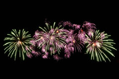 Beautiful bright fireworks. With black isolated background Royalty Free Stock Photos