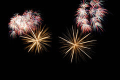Beautiful bright fireworks. With black isolated background Stock Photos