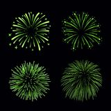 Beautiful bright fireworks set  on black background. Beautiful green fireworks set. Bright fireworks  black background. Light green decoration fireworks for Stock Photos