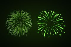Beautiful bright fireworks set isolated on black background. Beautiful green fireworks set. Bright fireworks isolated black background. Light green decoration Royalty Free Stock Photo
