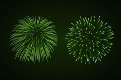 Beautiful bright fireworks set isolated on black background. Beautiful green fireworks set. Bright fireworks isolated black background. Light green decoration Stock Photos