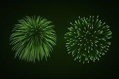 Beautiful bright fireworks set isolated on black background. Beautiful green fireworks set. Bright fireworks isolated black background. Light green decoration Stock Photos