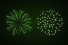 Beautiful bright fireworks set isolated on black background. Beautiful green fireworks set. Bright fireworks isolated black background. Light green decoration Royalty Free Stock Photos