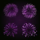 Beautiful bright fireworks set isolated on black background. Beautiful purple fireworks set. Bright fireworks isolated black background. Light pink decoration Royalty Free Stock Photo