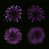 Beautiful bright fireworks set isolated on black background. Beautiful purple fireworks set. Bright fireworks isolated black background. Light pink decoration Royalty Free Stock Photos