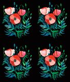 Beautiful bright floral pattern of red poppies with green leaves and heads on black background watercolor. Hand illustration Stock Images