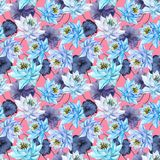 Beautiful bright floral seamless pattern. Blue lotus flowers with purple leaves on pink background. Hand drawn illustration. Watercolor painting. Design of Stock Photo