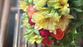 Beautiful bright flowers in lovely bouquet. stock footage