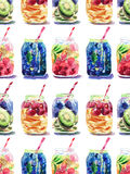 Beautiful bright fresh tasty juicy delicious lovely cute colorful detox bank with blue blackberry, mulberry and kiwi sliced, red c. Herries and oranges, red Royalty Free Stock Photos