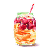 Beautiful bright fresh tasty juicy delicious lovely cute colorful detox bank with red cherries, ripe oranges and straw watercolor. Hand illustration Royalty Free Stock Photography