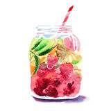Beautiful bright fresh tasty juicy delicious lovely cute colorful detox bank with red mulberries, ripe green limes and oranges and. Straw watercolor hand Royalty Free Stock Images