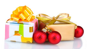 Beautiful bright gifts and Christmas decoration Royalty Free Stock Image