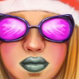 A beautiful bright girl with gray lips in pink glasses and a New Year hat in the style of digital oil painting. Pretty beautiful bright girl with gray lips in Stock Photo