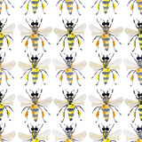Beautiful bright graphic abstract cute lovely artistic vintage summer colorful vertical pattern of honey bees and black ants Stock Image