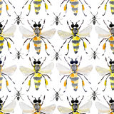 Beautiful bright graphic abstract cute lovely artistic vintage summer colorful vertical pattern of honey bees and black ants water Stock Images