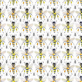 Beautiful bright graphic abstract cute lovely artistic vintage summer colorful vertical pattern of honey bees and black ants water Stock Photos