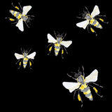 Beautiful bright graphic abstract cute lovely artistic vintage summer colorful vertical pattern of honey bees on black background Royalty Free Stock Image