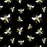 Beautiful bright graphic abstract cute lovely artistic vintage summer colorful vertical pattern of honey bees on black background Royalty Free Stock Photo