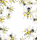 Beautiful bright graphic abstract cute lovely summer colorful frame of honey bees Stock Images