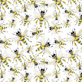 Beautiful bright graphic abstract cute lovely summer colorful pattern of honey bees Stock Image