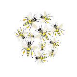 Beautiful bright graphic abstract cute lovely summer colorful pattern of honey bees watercolor. Hand illustration royalty free illustration