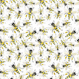 Beautiful bright graphic abstract cute lovely summer colorful pattern of honey bees watercolor. Hand illustration stock illustration