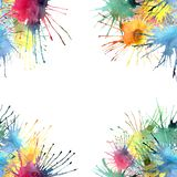 Beautiful bright graphic artistic abstract red yellow blue green purple blots frame watercolor Royalty Free Stock Image