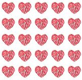 Beautiful bright heart of red hot chili peppers pattern watercolor. Hand illustration Stock Image