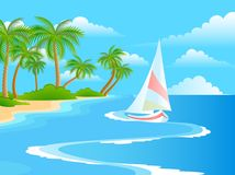 Beautiful a bright landscape. On the summer beach with palm trees Vector Illustration