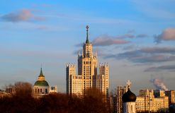 Beautiful bright landscape with a high-rise building in Moscow stock photos