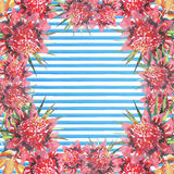 Beautiful bright lovely colorful tropical hawaii floral herbal summer frame of tropical flowers hibiscus orchids and palms leaves. On light blue horizontal Stock Photos