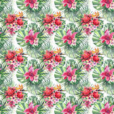 Beautiful bright lovely colorful tropical hawaii floral herbal summer pattern of tropical flowers hibiscus orchids and palms leave. S watercolor hand sketch Stock Photography
