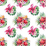 Beautiful bright lovely colorful tropical hawaii floral herbal summer pattern of tropical flowers hibiscus orchids and palms leave. S watercolor hand sketch Stock Image