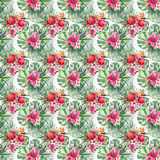 Beautiful bright lovely colorful tropical hawaii floral herbal summer pattern of tropical flowers hibiscus orchids and palms leave. S watercolor hand sketch Stock Photo