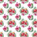 Beautiful bright lovely colorful tropical hawaii floral herbal summer pattern of tropical flowers hibiscus orchids and palms leave. S watercolor hand sketch Royalty Free Stock Images