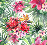 Beautiful bright lovely colorful tropical hawaii floral herbal summer pattern of tropical flowers hibiscus orchids and palms leave. S watercolor hand sketch Royalty Free Stock Photography