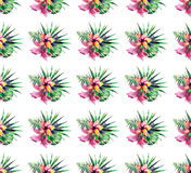Beautiful bright lovely colorful tropical hawaii floral herbal summer pattern of tropical flowers hibiscus orchids and palms leave. S watercolor hand sketch Royalty Free Stock Image