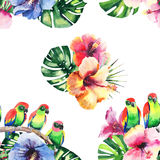 Beautiful bright lovely colorful tropical hawaii floral herbal summer pattern of tropical flowers hibiscus, palms leaves and lovel Royalty Free Stock Photos
